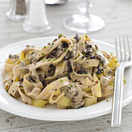 ... this wild mushroom tagliatelle with boursin garlic herb cheese for two