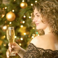 Woman drinking at christmas