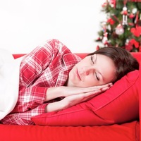 Woman sleeping christmas