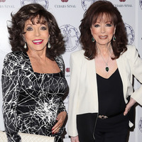 Actress Joan Collins and her sister Author Jackie Collins attend the Women's Guild Cedars-Sinai Luncheon at Beverly Hills Hotel on April 22, 2014 in Beverly Hills, California