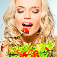 diet iss 11, woman eating salad